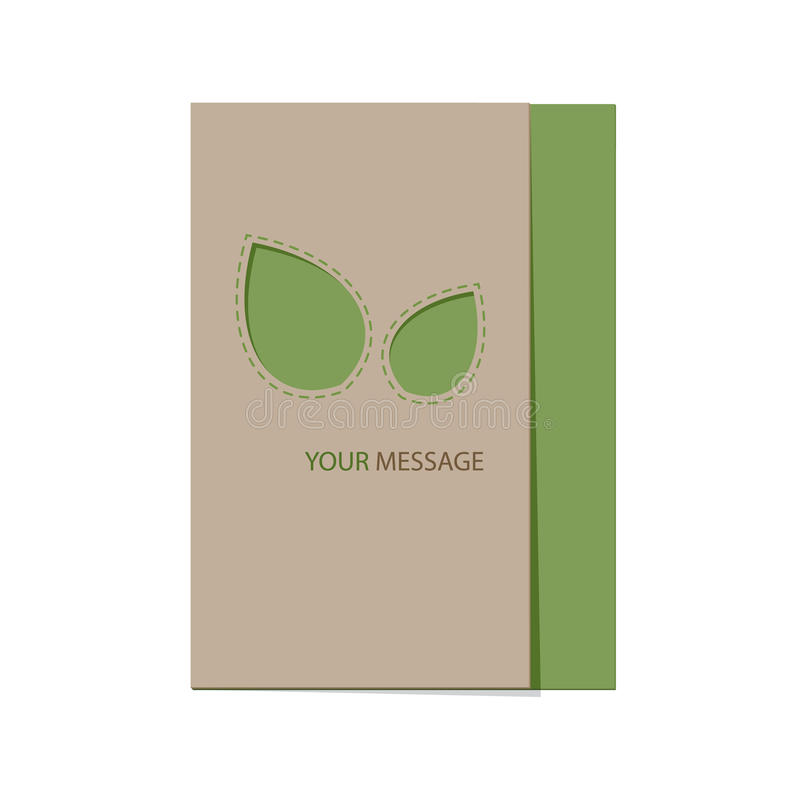 Recyclable card with green leaves. Eco template for card with leaves and text message. Vector illustration stock illustration