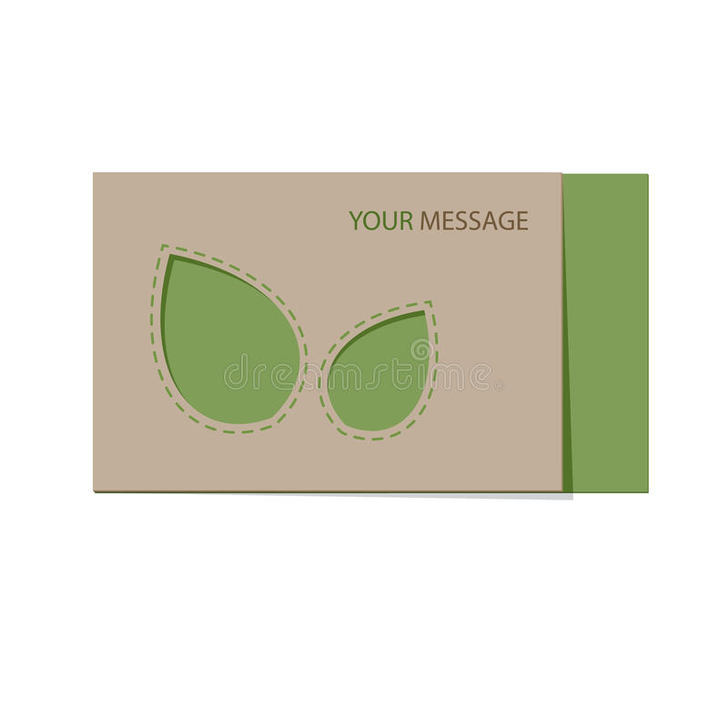 Recyclable card with green leaves. Eco template for card with leaves and text message. Vector illustration royalty free illustration
