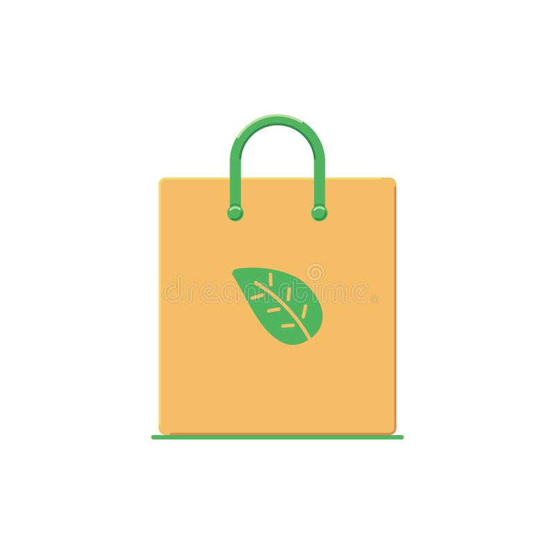 Recyclable eco shopping bag in flat style. Icon. Vector illustration royalty free illustration