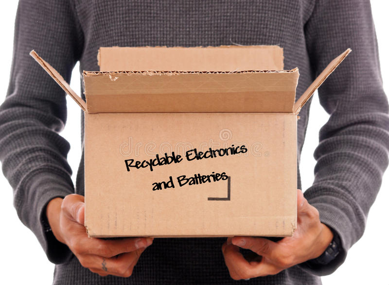 Recyclable Electronics. Box of Recyclable Electronics and Batteries stock photography