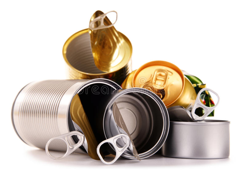 Recyclable garbage consisting of metal cans on white royalty free stock photography