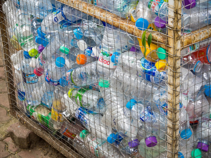 Recyclable garbage of plastic bottles in rubbish bin. August 12, 2016 - Chiang mai, Thailand : Recyclable garbage of plastic bottles in rubbish bin stock image