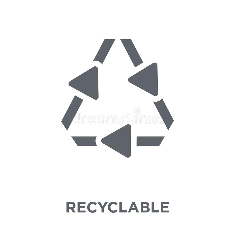 Recyclable icon from Ecology collection. Recyclable icon. Recyclable design concept from Ecology collection. Simple element vector illustration on white stock illustration
