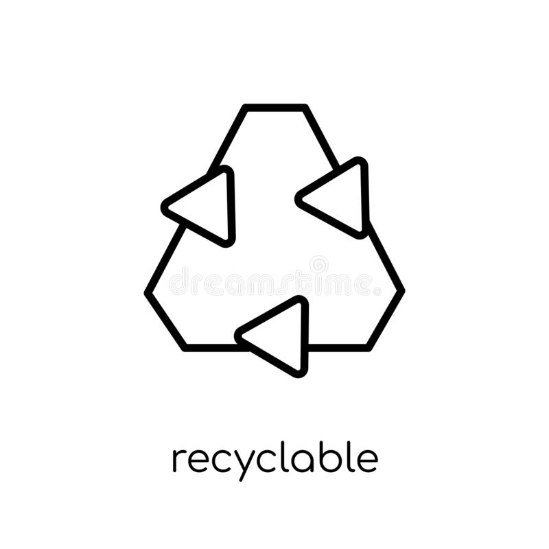 Recyclable icon from Ecology collection. Recyclable icon. Trendy modern flat linear vector recyclable icon on white background from thin line Ecology collection royalty free illustration