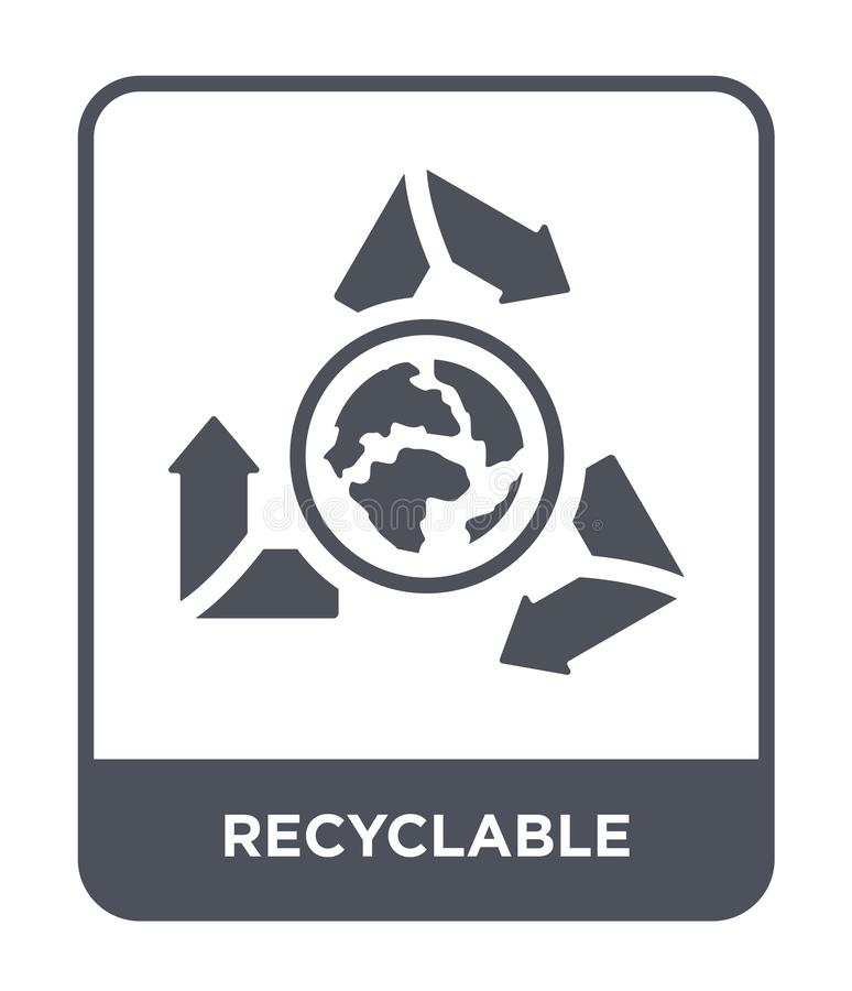 Recyclable icon in trendy design style. recyclable icon isolated on white background. recyclable vector icon simple and modern. Flat symbol for web site, mobile royalty free illustration