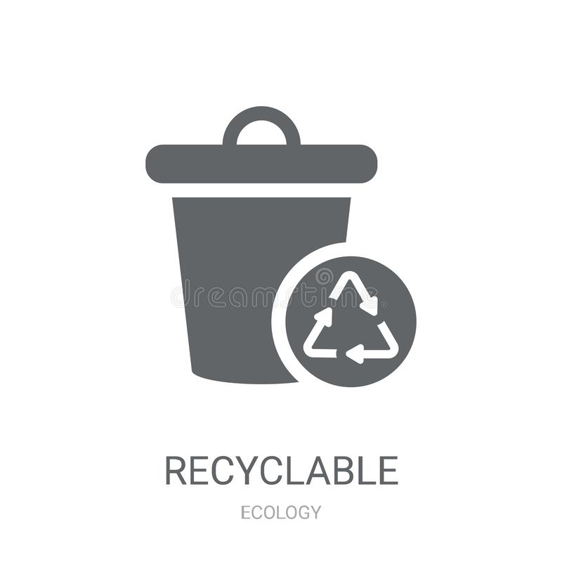 Recyclable icon. Trendy Recyclable logo concept on white background from Ecology collection. Suitable for use on web apps, mobile apps and print media vector illustration