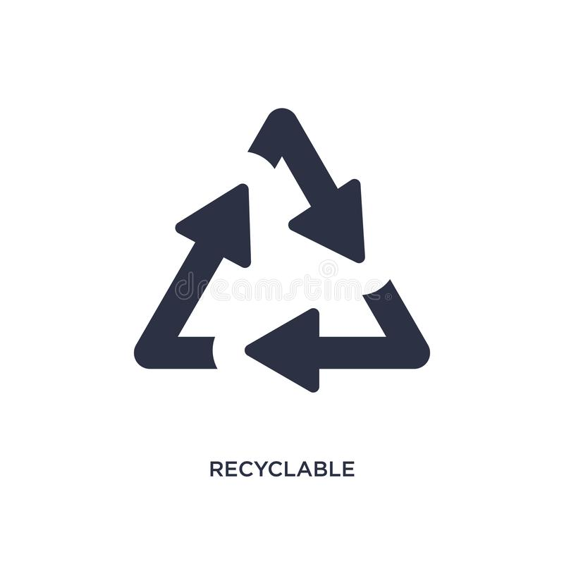 Recyclable icon on white background. Simple element illustration from ecology concept. Recyclable icon. Simple element illustration from ecology concept royalty free illustration