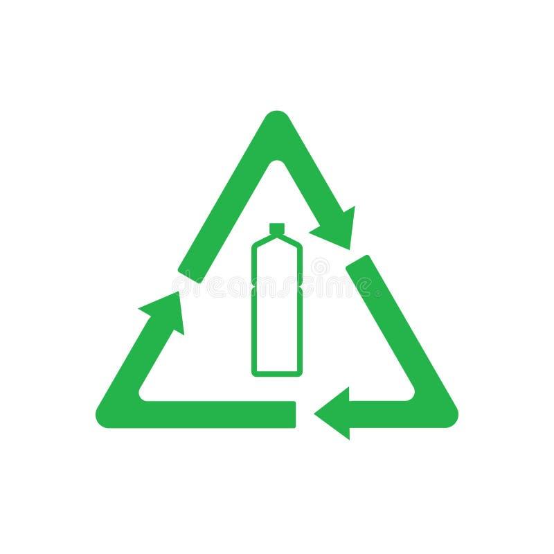 Recyclable klingeryt, Przetwarzająca butelki ikona Wektorowa ilustracja, płaski projekt royalty ilustracja