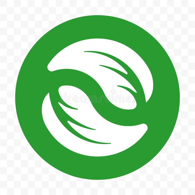 Recyclable klingerytu bezpłatny pakunek, biodegradable pakuje wektorowy ikona szablon Życiorys degradable zielona liść etykietka royalty ilustracja