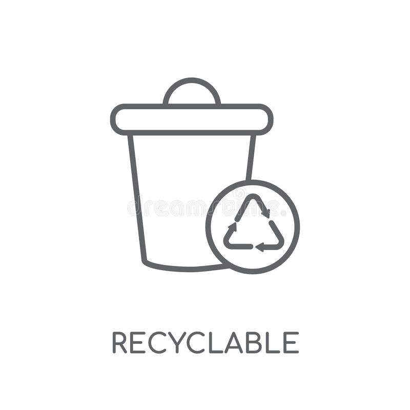 Recyclable linear icon. Modern outline Recyclable logo concept o. N white background from Ecology collection. Suitable for use on web apps, mobile apps and print stock illustration