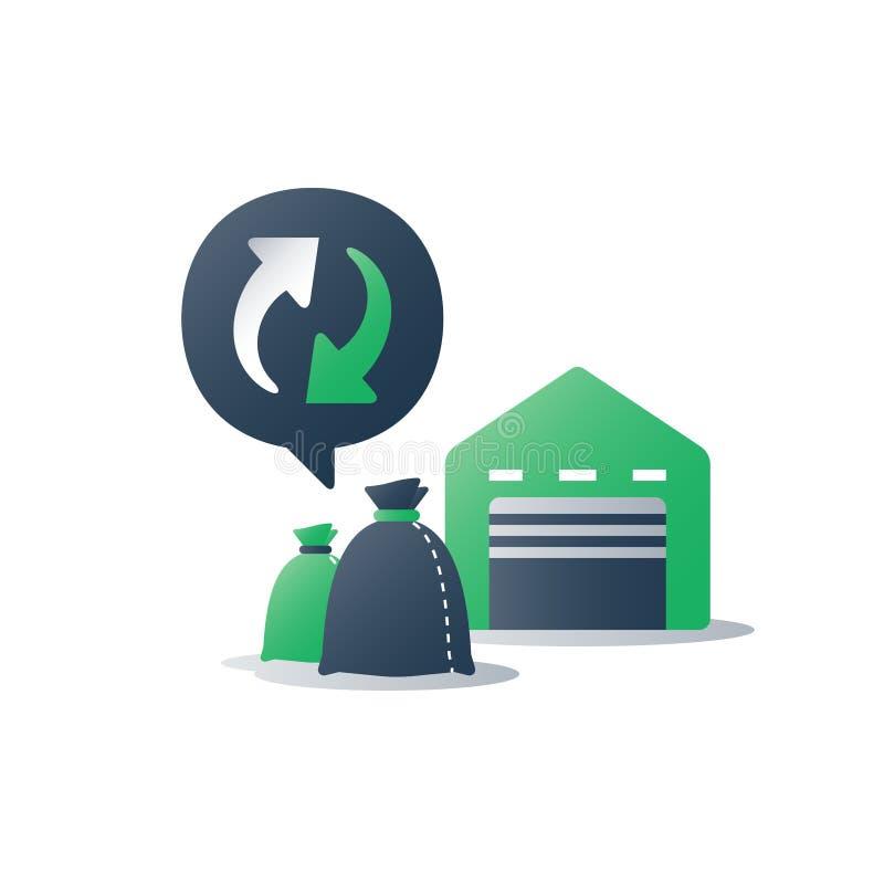 Recyclable materiały, banialuki przetwarza rośliny, torba na śmiecie, spożytkowanie program, sortuje magazyn ilustracja wektor