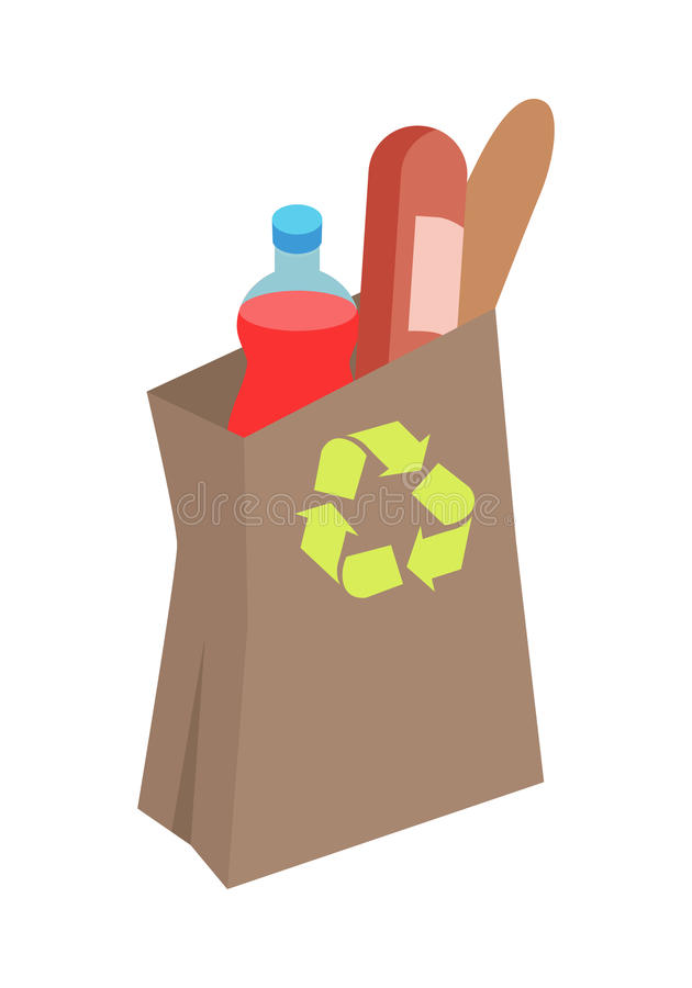 Recyclable Paper Bag with Food Isometric Vector. Shopping bag with daily products vector illustration. Make purchases in grocery store flat concept isolated on stock illustration