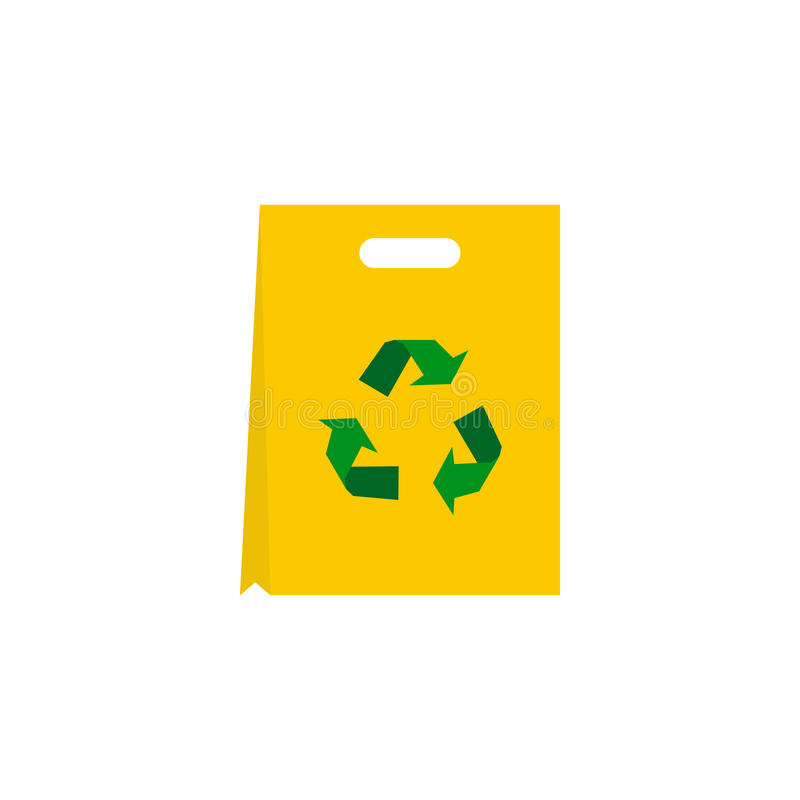 Recyclable plastic bag icon, flat style. Recyclable plastic bag icon in flat style isolated on white background. Packaging symbol stock illustration