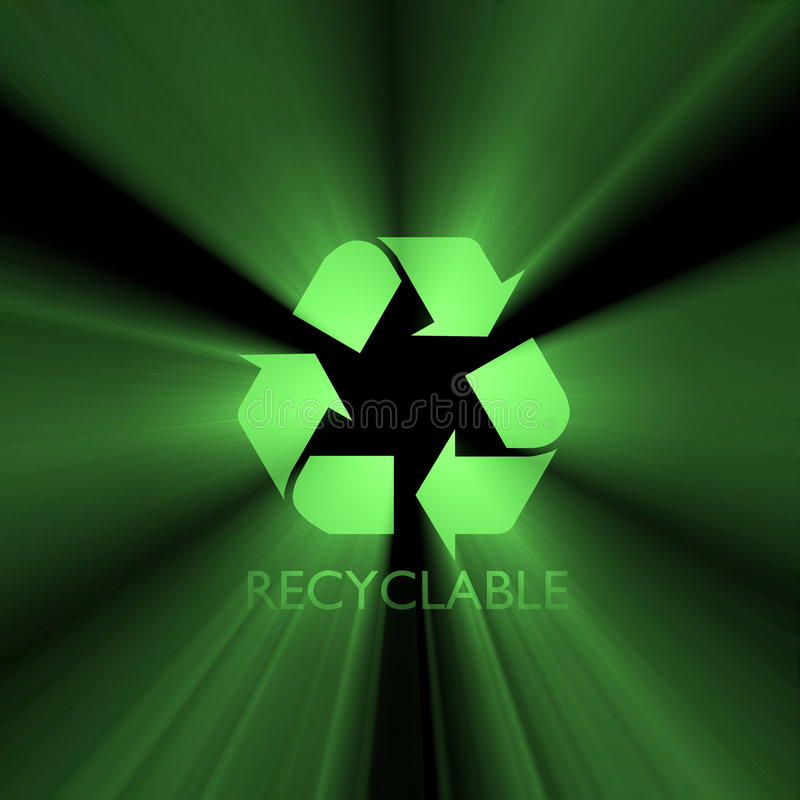Recyclable sign green light flare. Isolated Recyclable symbol with powerful green halo. Extended flares for cropping vector illustration