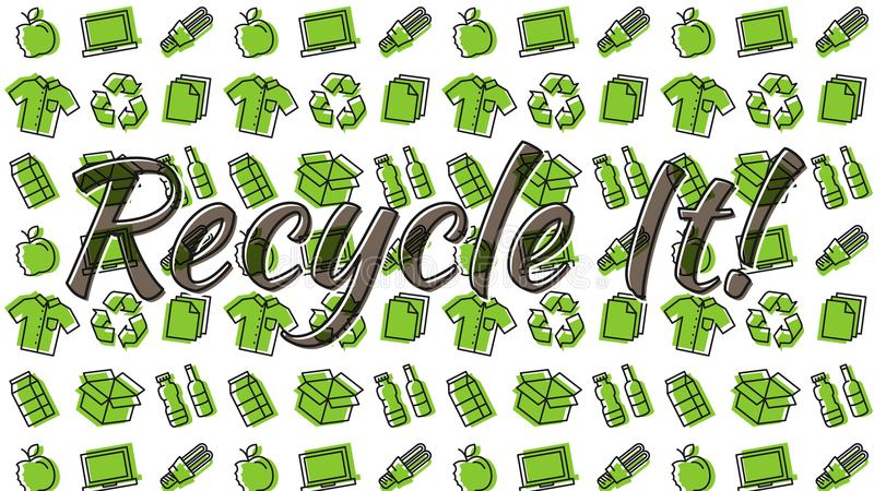 Recyclable things line art pattern. Recycle it vector illustration. Recyclable things line art pattern on the background: cardboard box, electronics, bottles vector illustration