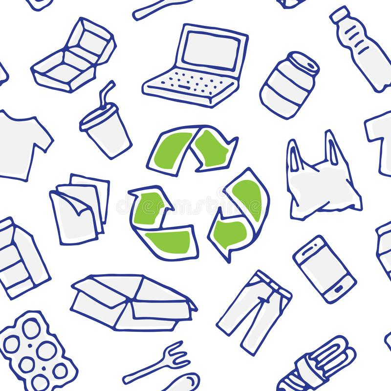 Recyclable things vector seamless pattern hand drawn. Recyclable things vector seamless pattern. Clothes, energy-saving lamp, package box, cardboard, paper royalty free illustration