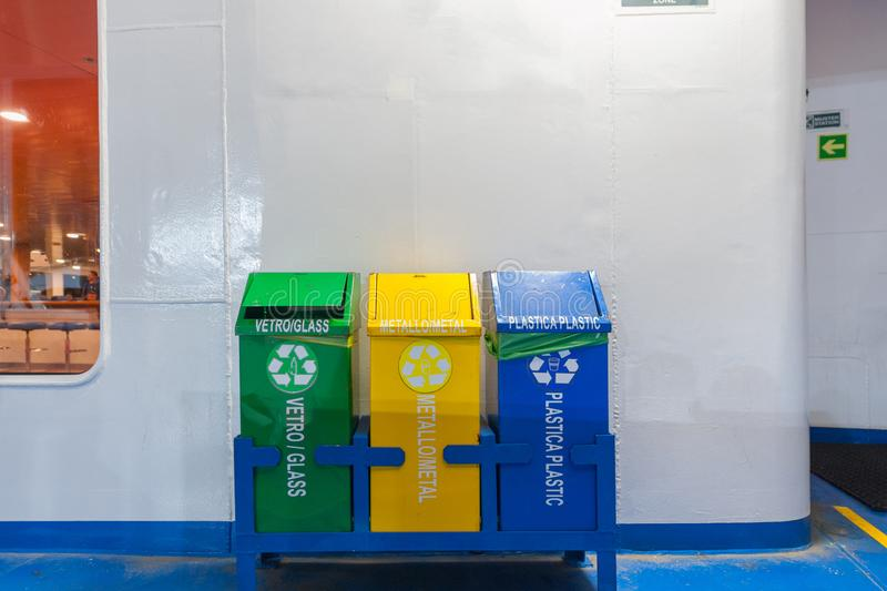 Recyclable waste containers stock images