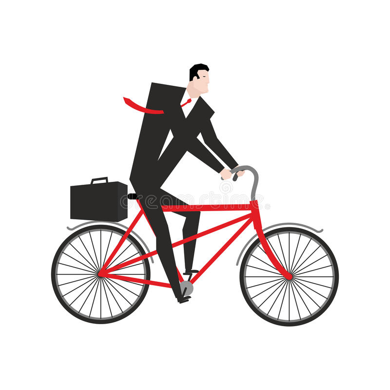Recyclage d'homme d'affaires le patron est sur la bicyclette Illustration d'affaires illustration stock