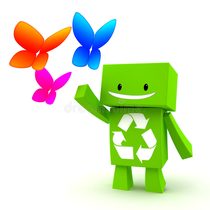 Recycle. 3D green character with a recycle symbol playing with butterflies vector illustration