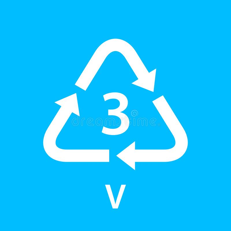 Recycle arrow triangle V types 3 isolated on blue background, symbology three type logo of plastic V materials, recycle triangle royalty free illustration