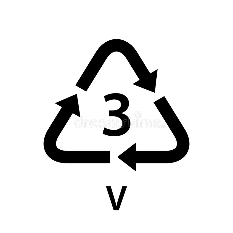 Recycle arrow triangle V types 3 isolated on white background, symbology three type logo of plastic V materials, recycle triangle stock illustration