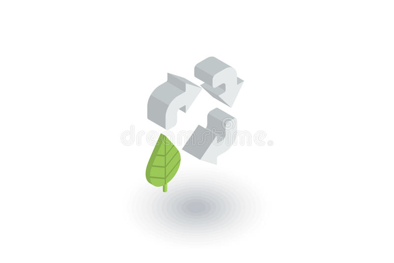 Recycle arrows and leaf. Environmental protection isometric flat icon. 3d vector. Recycle signs a green color isometric flat icon. 3d vector colorful vector illustration