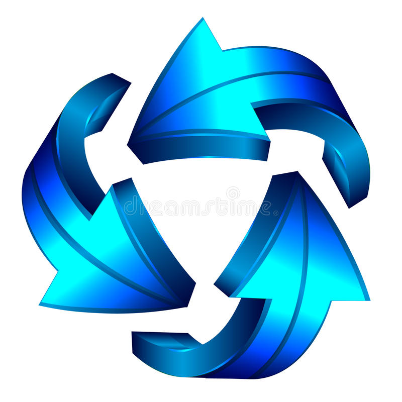 Recycle arrows. Recycle symbol. Illustration of recycle arrow on isolated background stock illustration