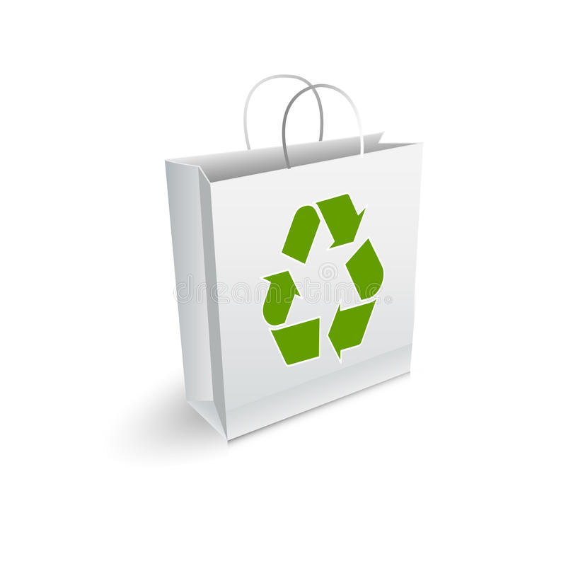 Recycle bag. Shopping bag with recycle symbol stock illustration