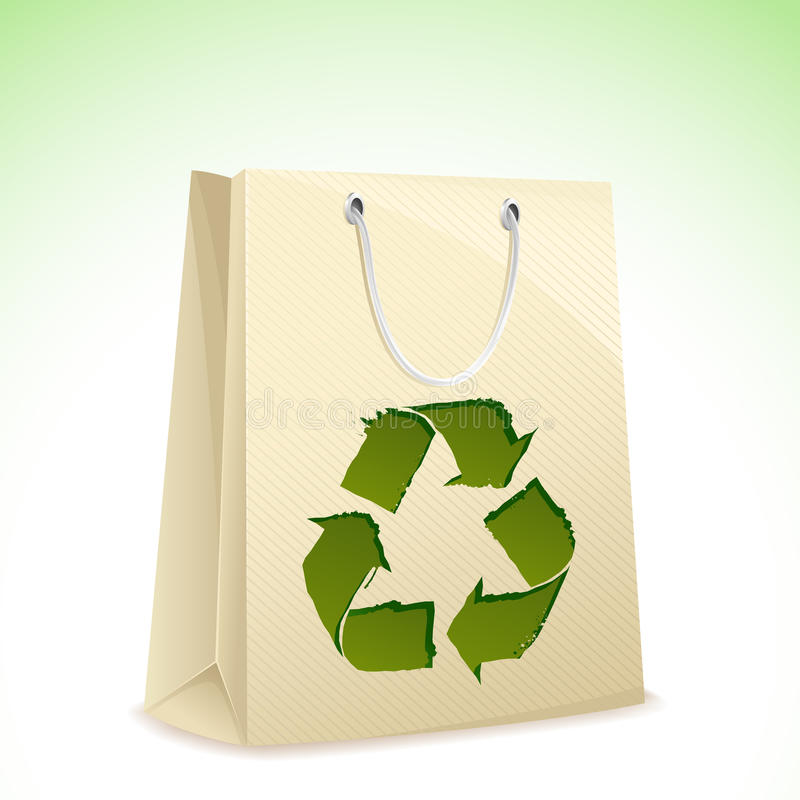 Recycle Bag. Illustration of carry bag with recycle symbol on it vector illustration