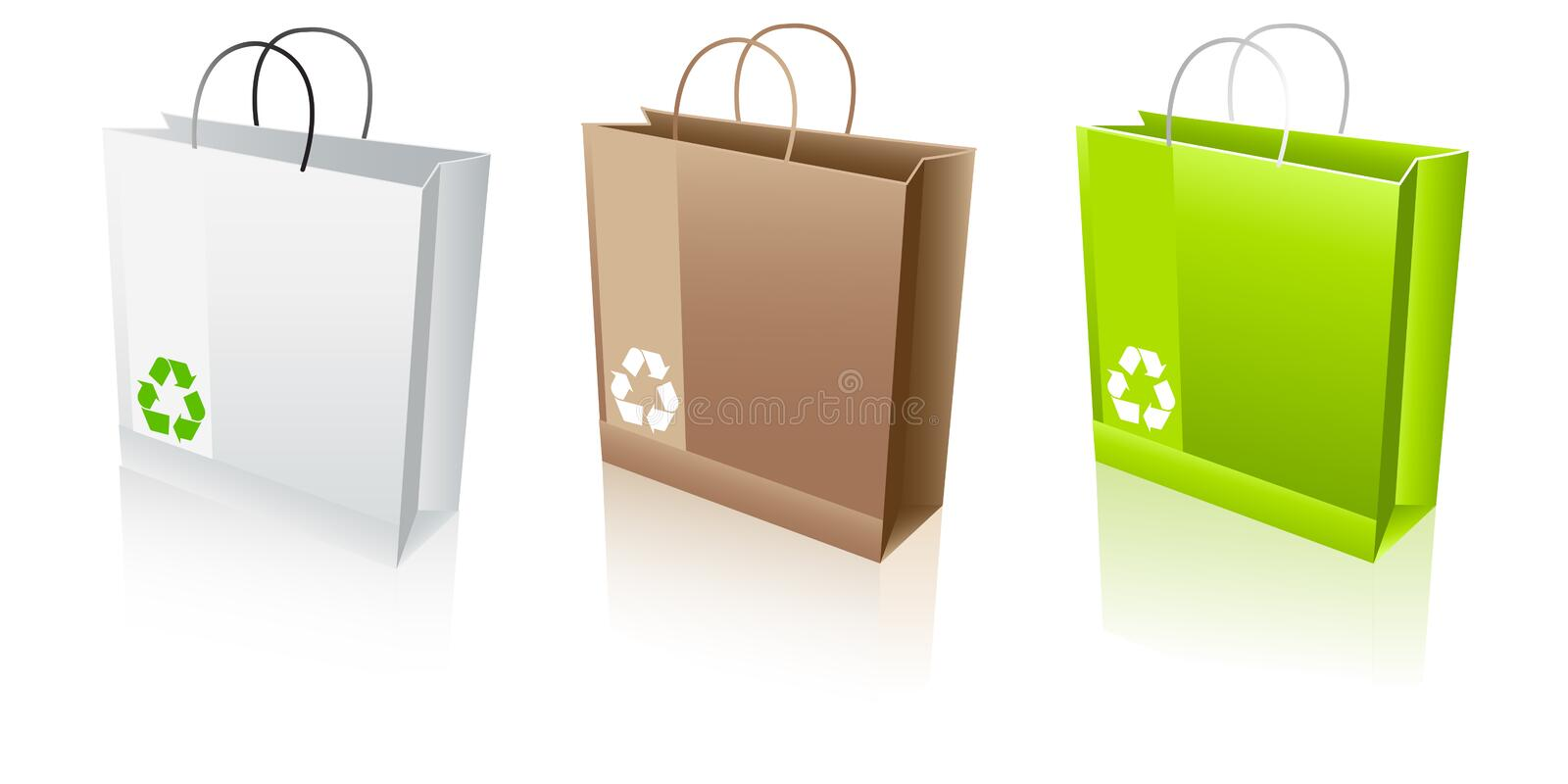 Recycle bags. Shopping bags with recycle symbol stock illustration