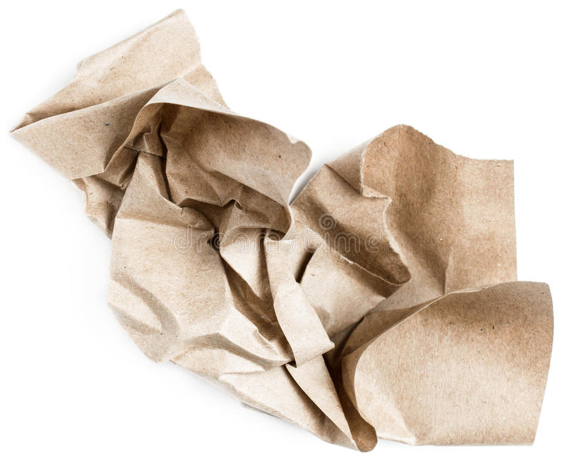 Recycle beige natural crumpled vintage paper on white backgroun stock photography