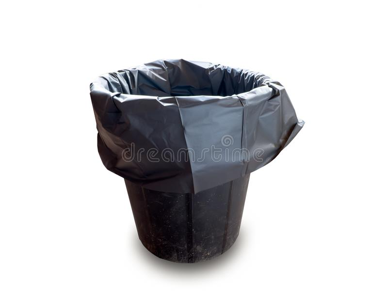 Recycle bin. Black recycle bin on isolated white background stock photos