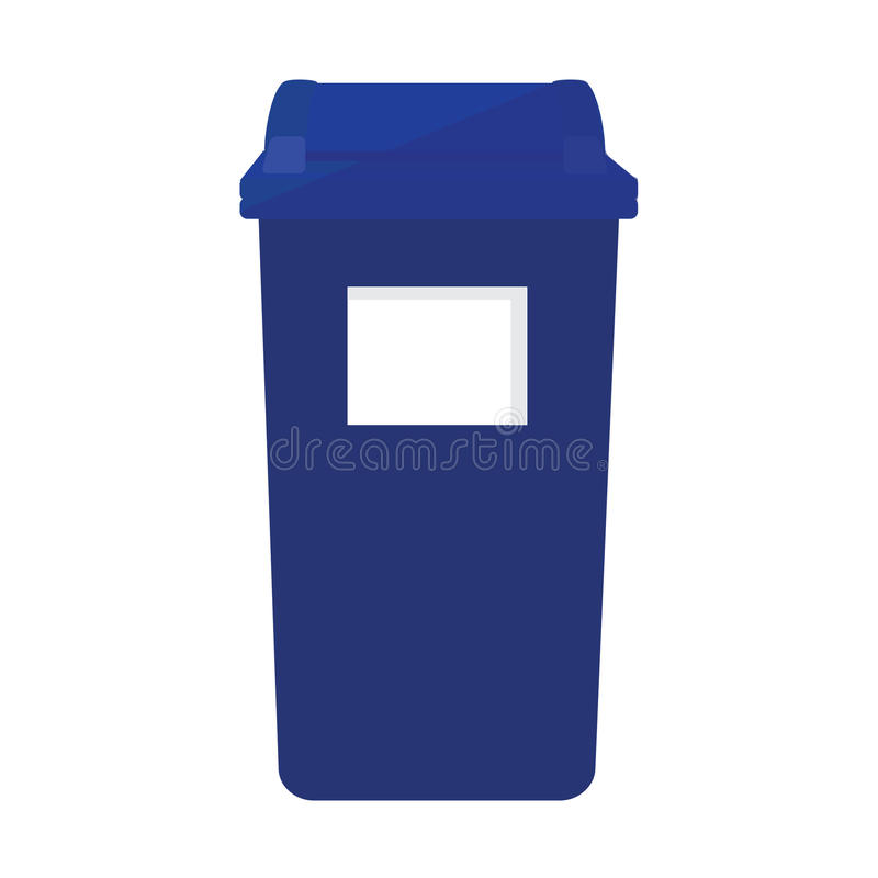 Recycle bin. Blue recycle bin icon. Recycle bin for paper, plastic, cans and glass. Eco friendly royalty free illustration