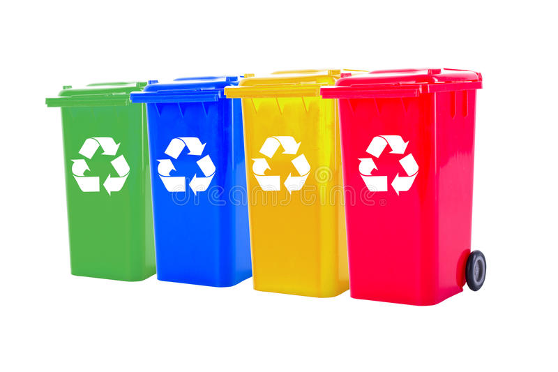 Recycle bin colorful. For trash your garbage and seperate type object for reuse protect our environment stock images