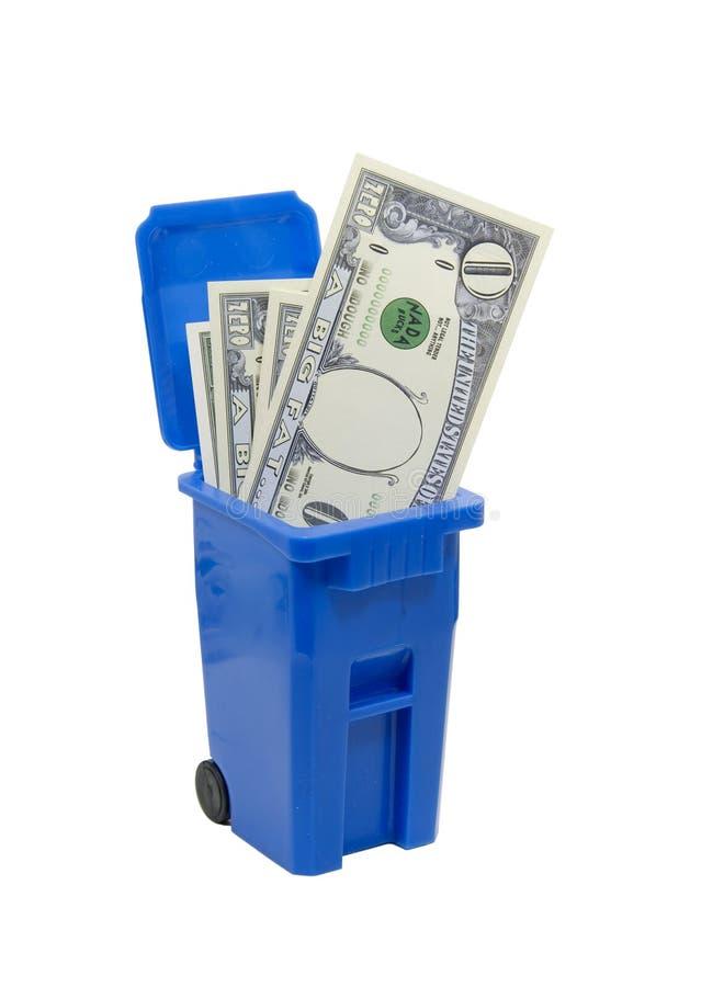 Recycle bin full of no money stock image