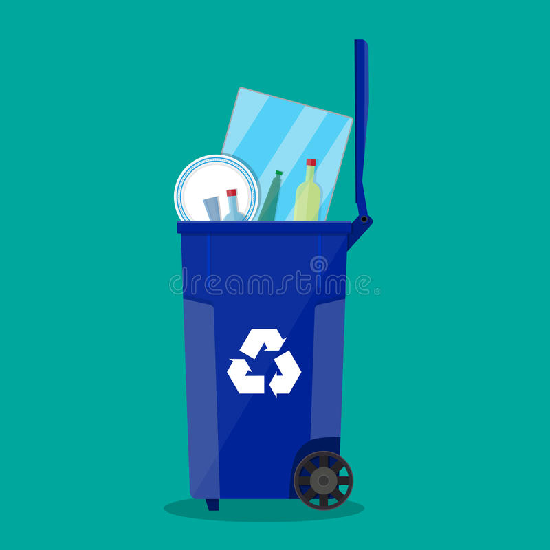Recycle bin for garbage full of glass things. royalty free illustration