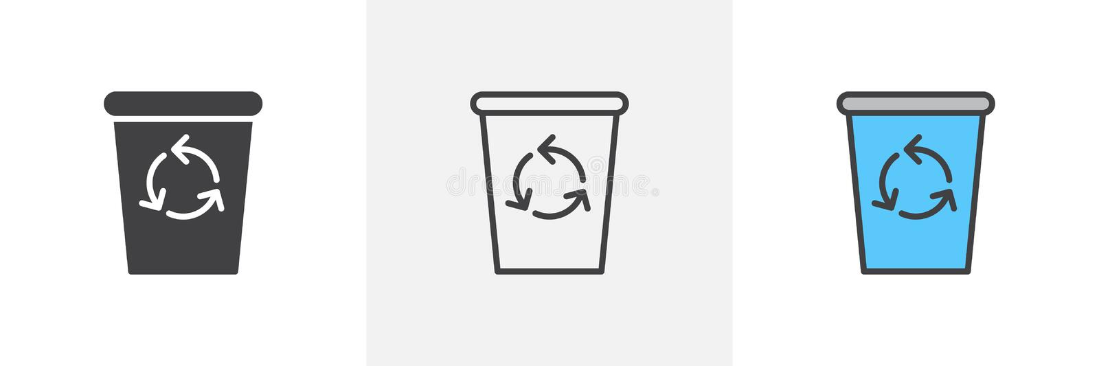 Recycle bin icon. Line, glyph and filled outline colorful version, trash bin outline and filled vector sign. Symbol, logo illustration. Different style icons vector illustration