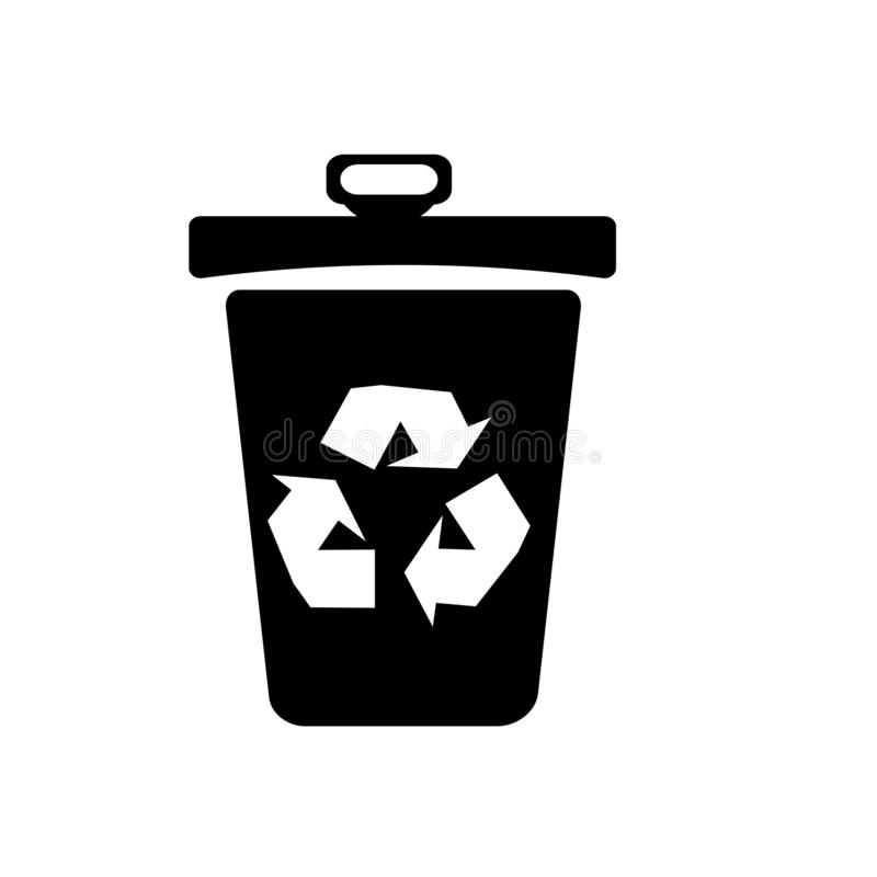 Recycle bin icon vector sign and symbol isolated on white background, Recycle bin logo concept. Recycle bin icon vector isolated on white background for your web vector illustration