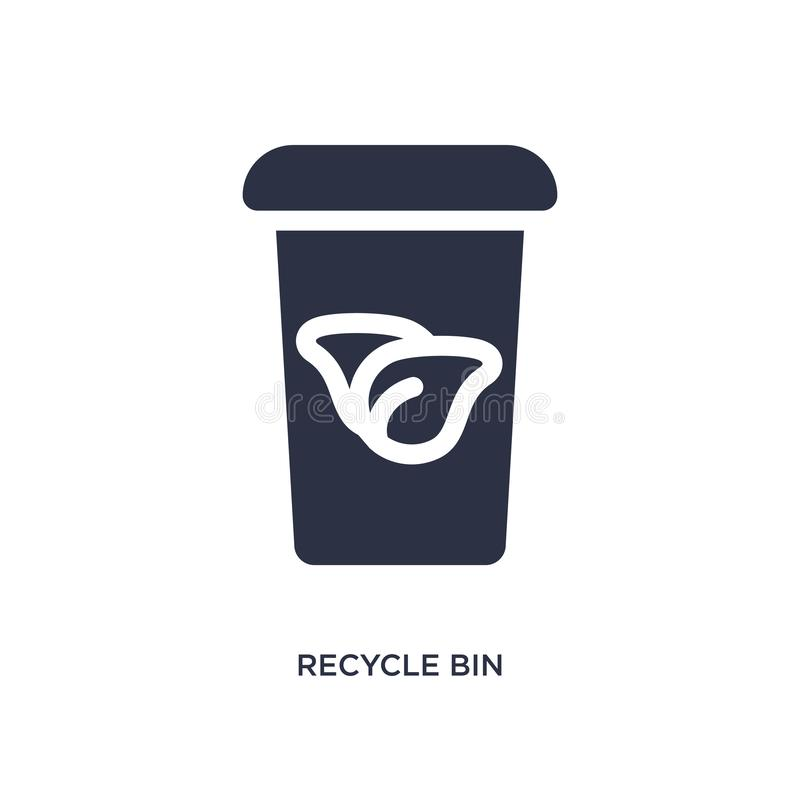 recycle bin icon on white background. Simple element illustration from ecology concept stock illustration