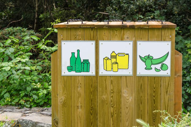 Recycle bin made with wood royalty free stock photos