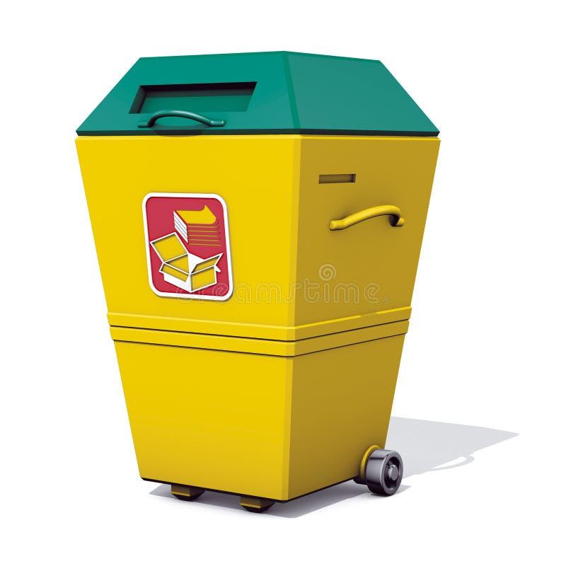 Recycle bin paper. 3d rendering bin recycle paper stock illustration