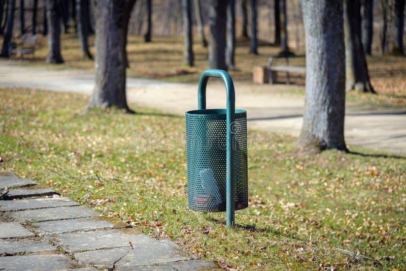 Recycle bin in park of Bauska town, Latvia.  stock photography