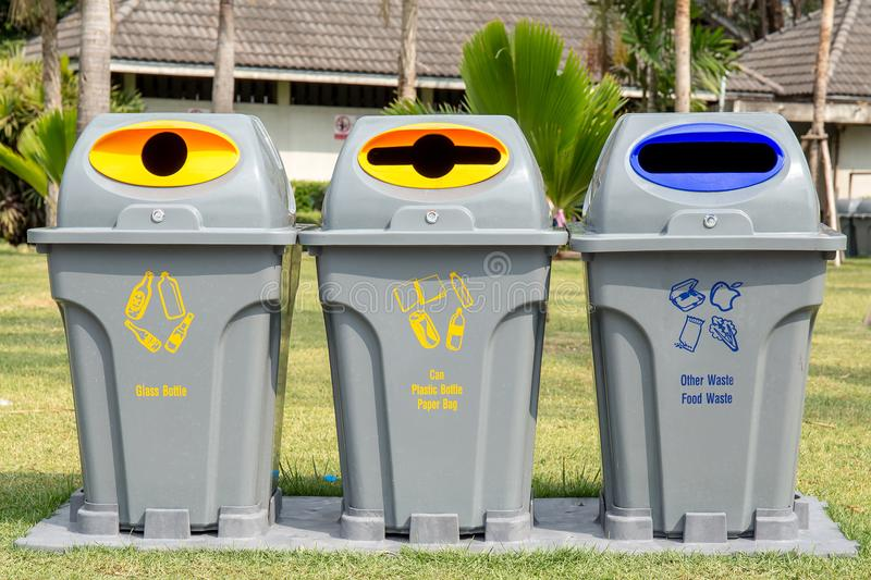 Recycle bin in the public park. stock photo