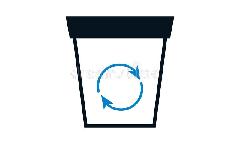 Recycle bin with recycle symbol icon isolated. Trash can icon. Flat design royalty free illustration
