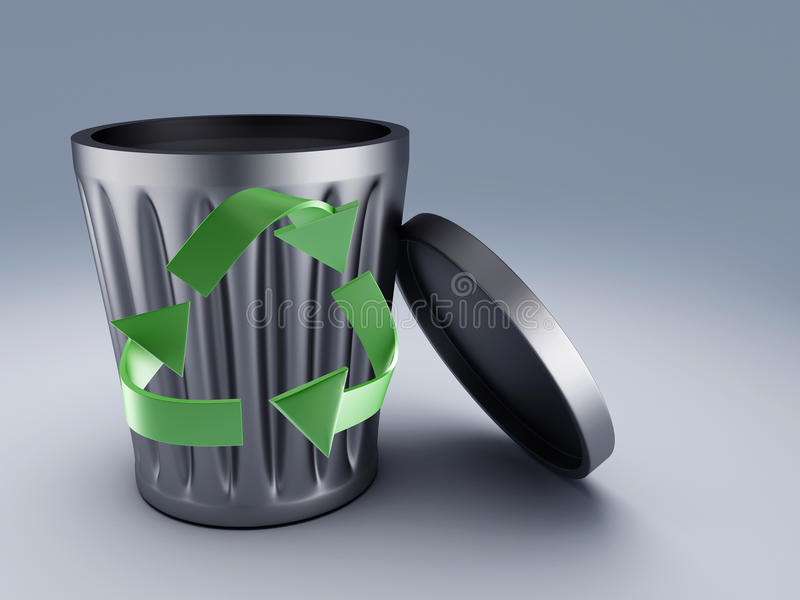 Recycle bin. Recycling bin. Recycle and bin symbols. 3d illustration royalty free illustration