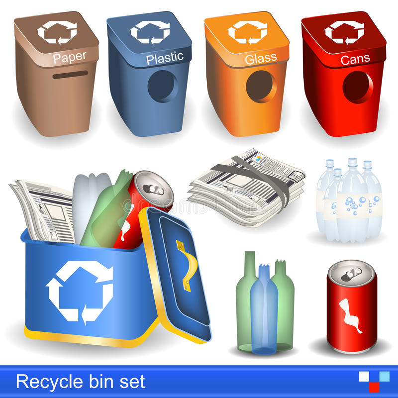 Recycle bin set. Illustration of recycle bin icons set royalty free illustration