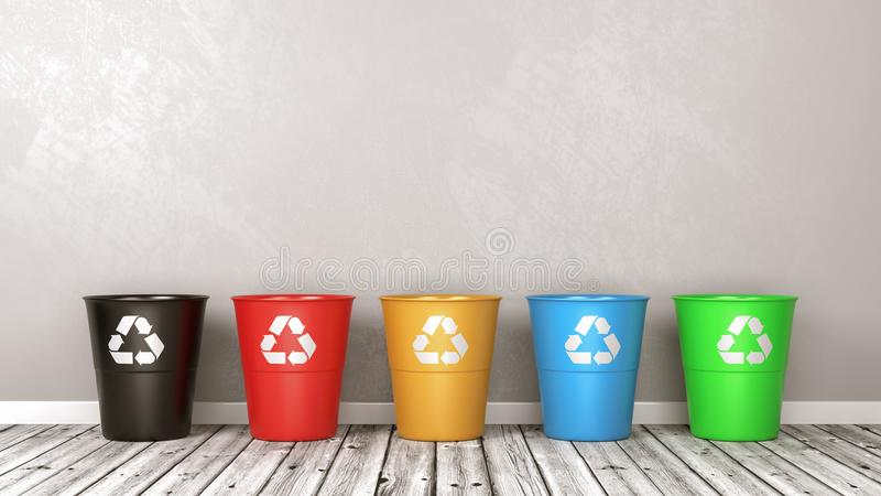 Recycle Bin Set on Wooden Floor Against Wall vector illustration