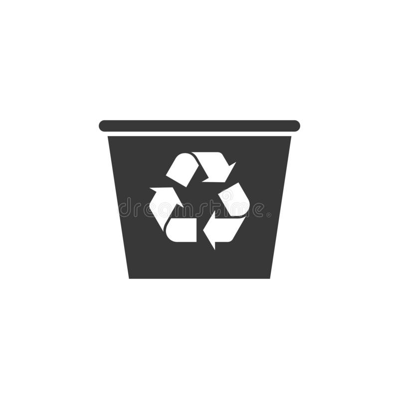Recycle bin with recycle symbol icon isolated on black, white and transparent background. Trash can icon. Garbage bin sign. vector illustration