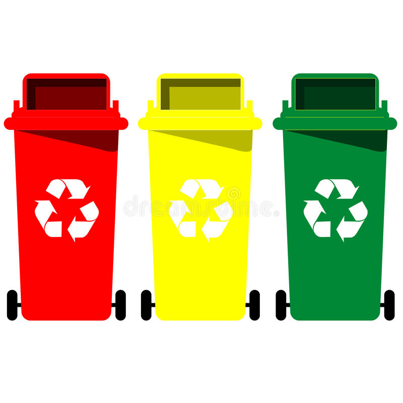 Recycle bin vector. The collection of different color recycle bins royalty free illustration