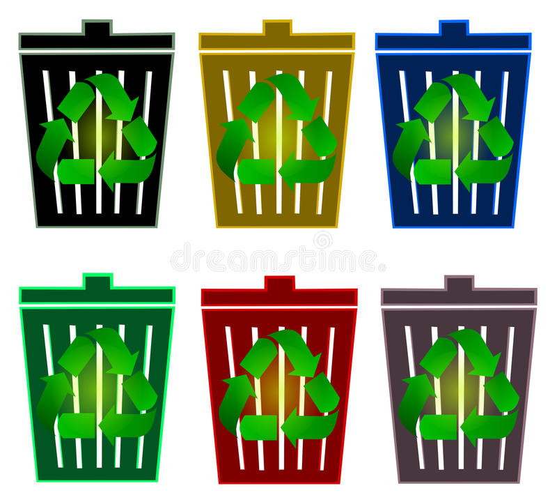 Download Recycle bins stock illustration. Image of nature, environment - 14419762